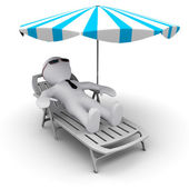 D man on holidays under sun umbrella — Stock Photo
