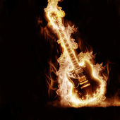 Electronic guitar enveloped flames — Stockfoto