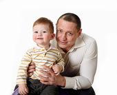 Retrato de un padre con su hijo pequeño — Foto de Stock