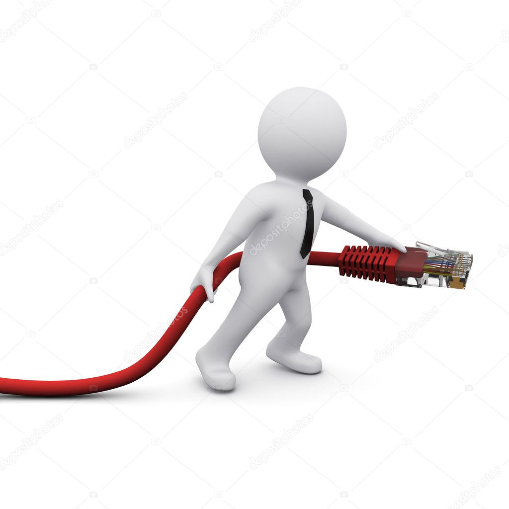 3D man holding computer USB connection device — Stock Photo #4723566