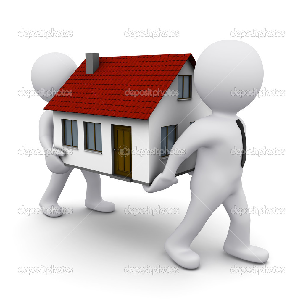 Two 3D men carrying a model of house — Stock Photo #4724419