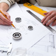 Stock Photo: Construction project papers