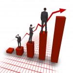 Business man climbing up the charts — Stock Photo #4737808