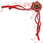 Beautiful design of white background red ribbon — Stock Photo