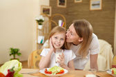Mother with teenager daughter having meal at home — Stock Photo