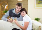 Husband and wife celebrating — Stock Photo