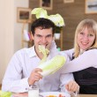 Young couple in the kitchen — Stock Photo #4899711