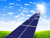 Road from the solar panels — Stock Photo