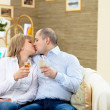 Couple at home drinking champagne — Stock Photo #4963831