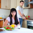 Young couple at breakfast - Stockfoto