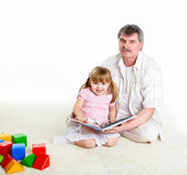 Portrait of grandfather and granddaughter — Stock Photo