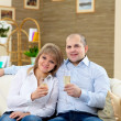 Stock Photo: Couple at home drinking champagne