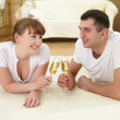 Couple at home drinking champagne — Stock Photo #4990359