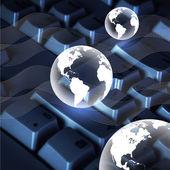 Computer keyboard and globe — Stock Photo