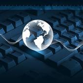 Klávesnice počítače a globus — Stock fotografie
