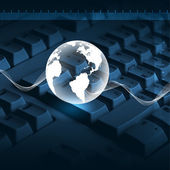 Klawiaturze komputera i świecie — Zdjęcie stockowe