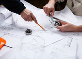 Construction project papers — Stock Photo