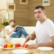 Man at home cooking — Stock Photo #5163518