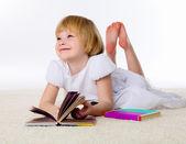 Menina no chão — Fotografia Stock