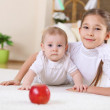Two little sisters together at home — Stock Photo