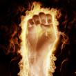 Human hand open arms fire — Stock Photo