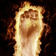 Royalty-Free Stock Photo: Human hand open arms fire