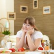 Wife at home in the kitchen — Foto de Stock