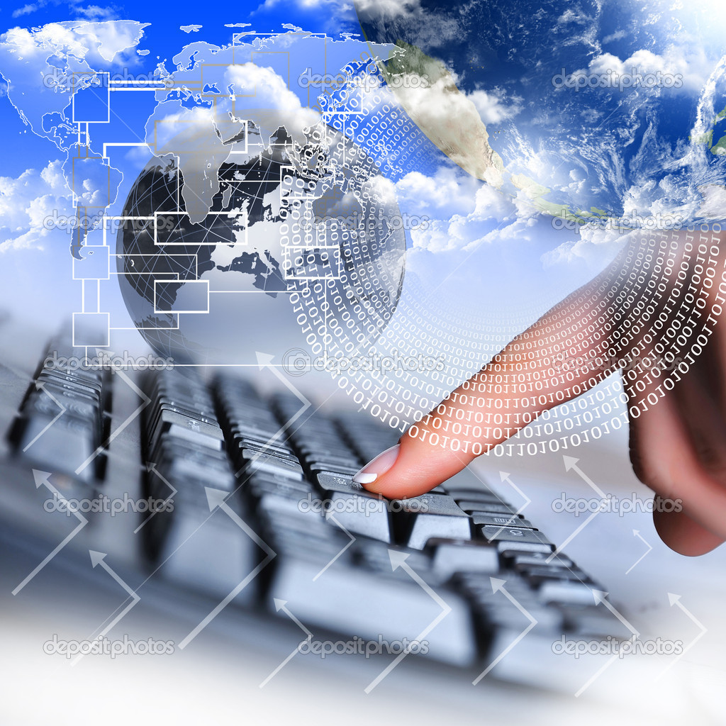 Human hand and computer keyboard as symbol of high technology  Stock Photo #5197314