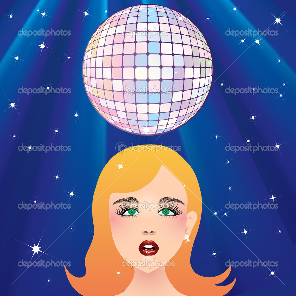 Disco ball and the girl's face against the background of stars and rays. — Stock Vector #2833975