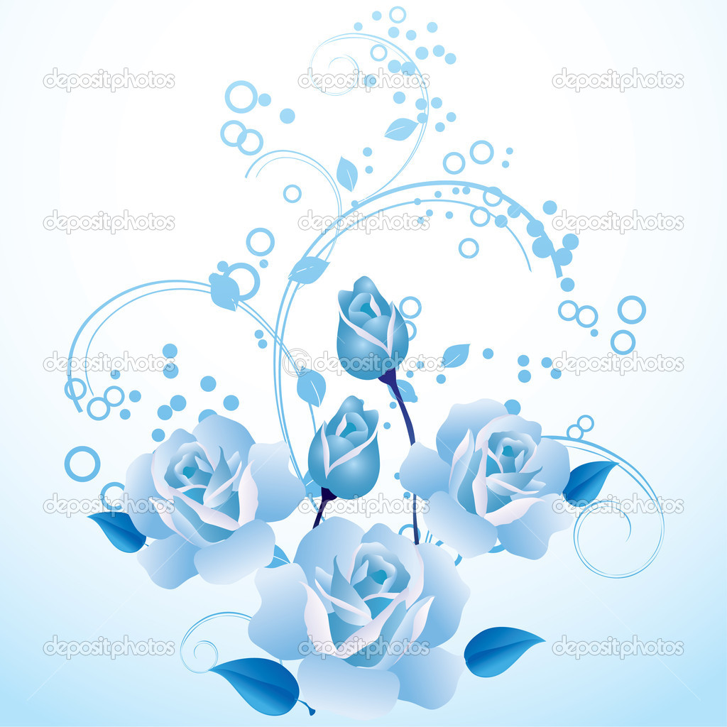 Blue roses and ornamental branch — Stock Vector #2834025
