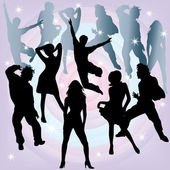 Silhouettes of dancers. — Stock Vector