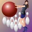 A girl and bowling. — Stock Vector