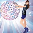 Girl and a disco ball. — Stock Vector