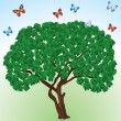 Trees and butterflies. — Stock Vector