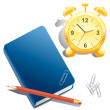 Stock Vector: Alarm clock, book, pencil and paper clip