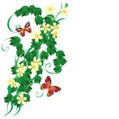 Ornament with leaves and butterflies. — Stock Vector