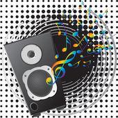 Equipo musical y notas musicales. — Vector de stock