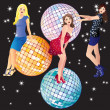 Beautiful girls and disco balls. — Stock Vector