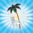 Deckchair and palm. — Stock Vector