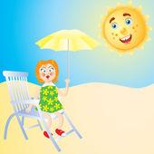 The girl on the beach. — Stock Vector