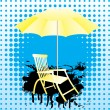 Yellow umbrella and deckchair. — Stock Vector