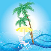 Chaise longue, umbrella and palm trees. — Stock Vector
