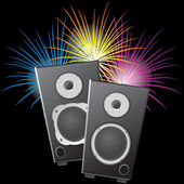 Musical columns and fireworks. — Stock Vector