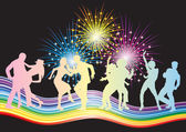 Dancing couples and fireworks. — Stock Vector
