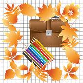 Briefcase and pencils. — Stock Vector