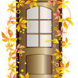 Door and autumn leaves. — Stock Vector