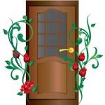 Постер, плакат: Door and roses