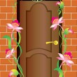 A door and flowers. — Stock Vector