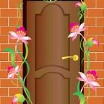 A door and flowers. — Stock Vector #3882308