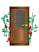 Door and roses. — Stock Vector